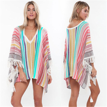 T-shirt color contrast vertical stripe fringe Beach Cover Up Bikini Swimsuit with sunscreen women contrast stripe knot tee