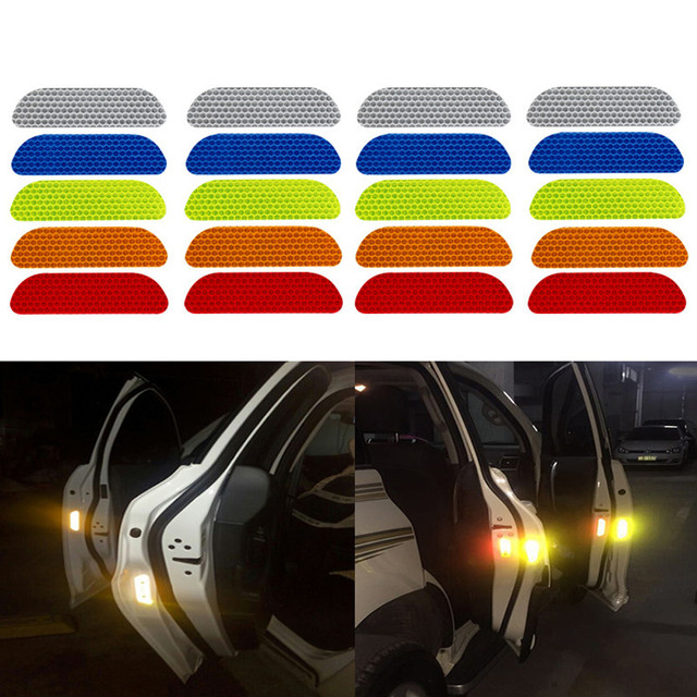 car reflective stickers decal warning stickers eyebrow safety mark reflective strips for edge wheel 4 parts/set