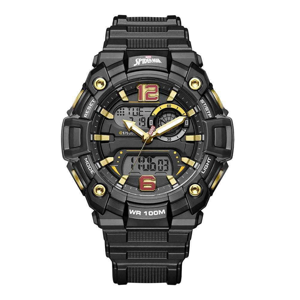 Disney Marvel Men's Watch Spider-Man Waterproof Digital Watch 10bar Trend Casual Multifunctional Men's Watch Stop Watch Plastic