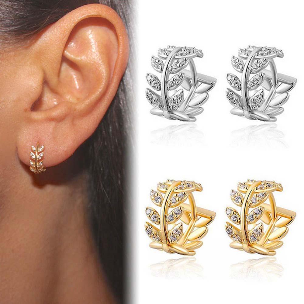 Elegant Leaf Shape Hoop Earrings Rhinestone Gold Color Surround Small Hoop Earrings Mini Slim Circle Earring Jewelry
