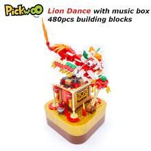 Pickwoo d21 480 pçs dragão dança leão blocos de construção com caixa música chinês primavera festival tradicional bloco tijolos brinquedos