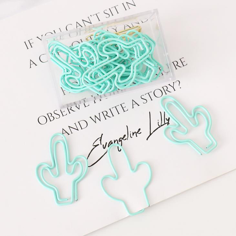 20 Pcs/pack Cute Light Green Cactus Plant Paper Clips Metal Bookmarks Book Marker Tag Photo Memo Document Clip Stationery Gifts