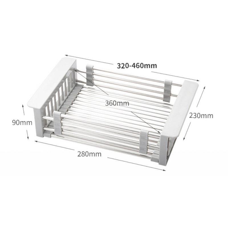 Adjustable Stainless Steel Drain Basket In Sink Drain Pan Vegetable And Fruit Drying Rack Kitchen Sink Organizer