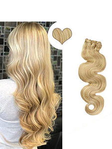 Ugeat Human-Hair-Extension Remy-Hair 7pcs-Clips in Hair-Piano-Color Body-Wave P12/613