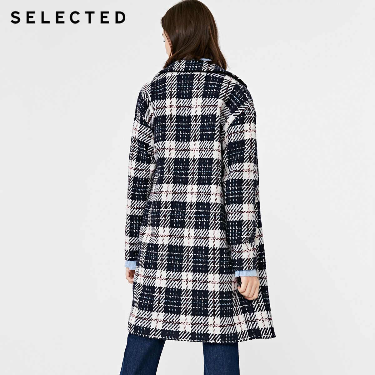 נבחר סתיו וחורף חדש של נשים עם צמר ניגוד משובץ צמר מעיל S | 418427512