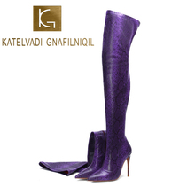 цена на KATELVADI Thigh High Boots Sexy Over the Knee Boots for Women Shoes Snakeskin PU Pointed Toe 12CM High Heels Long Boots K-590