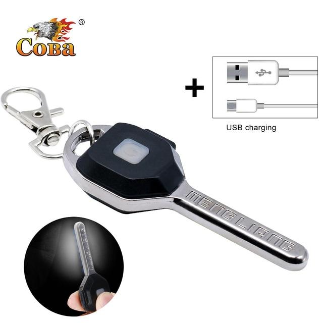 Coba mini LED flashlight Keychain light Portable key lanterna small torch 2 modes outdoor glare USB rechargeable