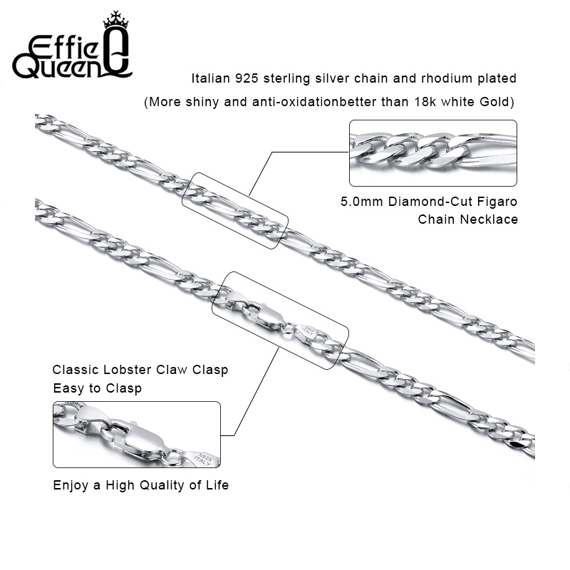 Effie Queen Italy Real 925 Silver Diamond-Cut Figaro Chain Necklace 5mm Wide 40-60cm Long Woman Man Neck Chain Jewelry Gift SC34