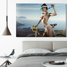 Sexy Girl With Bicycle Wall Art Canvas Poster and Print Canvas Painting Decorative Picture Modern Living Room Home Decor Artwork modern artwork top rated canvas print painting 5 pieces anime one piece artistic poster logo picture wall art home decorative