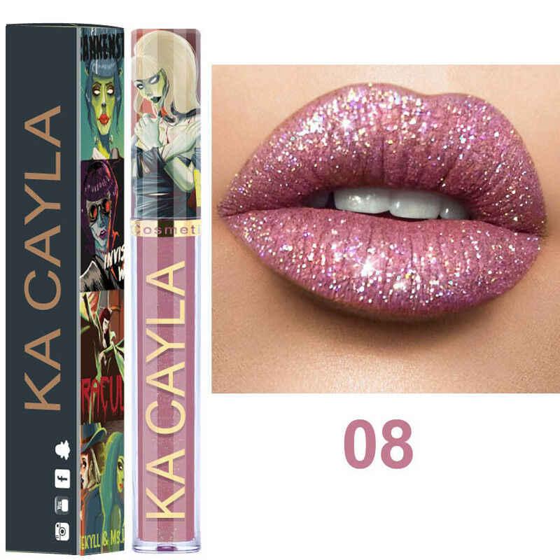 8 Colors Liquid Glitter Lip Gloss Diamond Metallic Shining Lipgloss Long Lasting Sexy Red Pigment Llipstick Maquiagem TSLM2