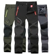 Tactical Waterproof Hiking Pants Men Breathable Stretch Softshell Fleece Lined Pants Outdoors Sport Autumn Winter Trekking Pants