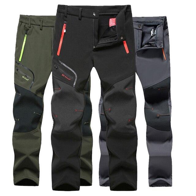 Taktik su geçirmez yürüyüş pantolonu erkekler nefes streç Softshell polar astarlı pantolon açık havada spor sonbahar kış Trekking pantolon