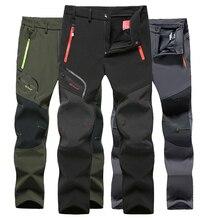 Taktyczne wodoodporne spodnie do wędrówek pieszych mężczyźni oddychające Stretch Softshell podszyty polarem spodnie na zewnątrz Sport jesienne zimowe spodnie trekkingowe
