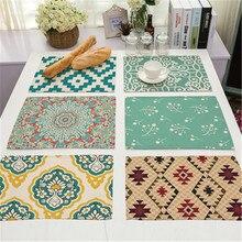 Mantel de cocina de lino y algodón con estampado de flores geométricas Vintage para mesa de comedor con protección contra el calor, posavasos y posavasos