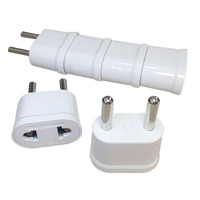 200pcs US To EU European KR Power Adapter 2 Pin Euro KR EU Travel Plug Adapter Outlet Electric AC Power Cable Sockets