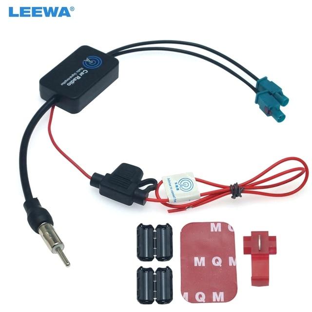 LEEWA 12V Auto Radio FM/AM Antenne Antenne Signal Booster Verstärker Für Audi Volkswagen FAKRA II Stecker Booster # CA6141