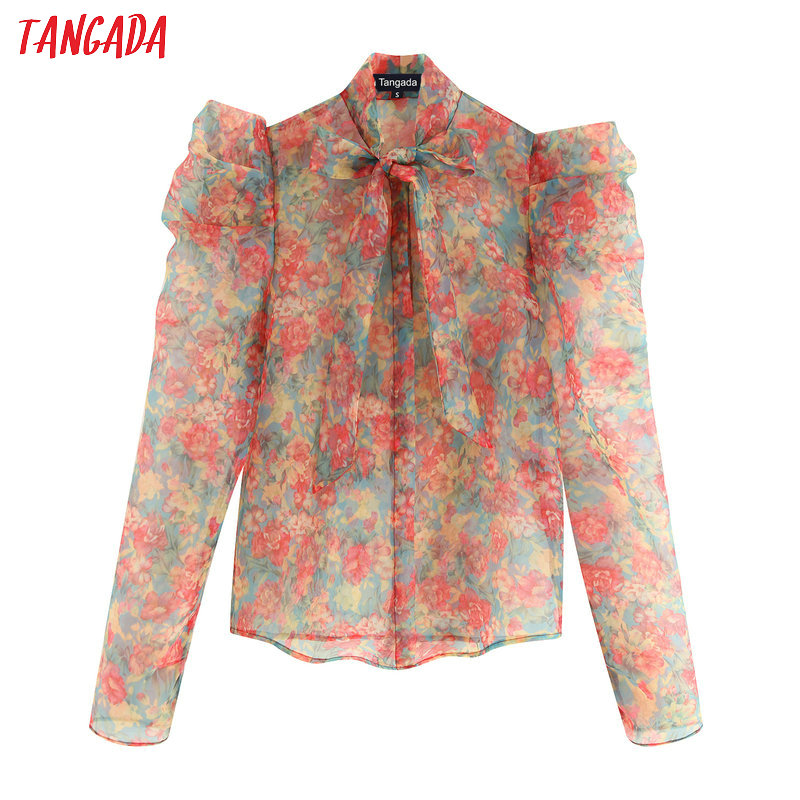 Tangada Women Chic Flower Print Blouse Long Sleeve Turn Down Collar Transparent Shirts Female Beach Wear Tops Blusas BE668