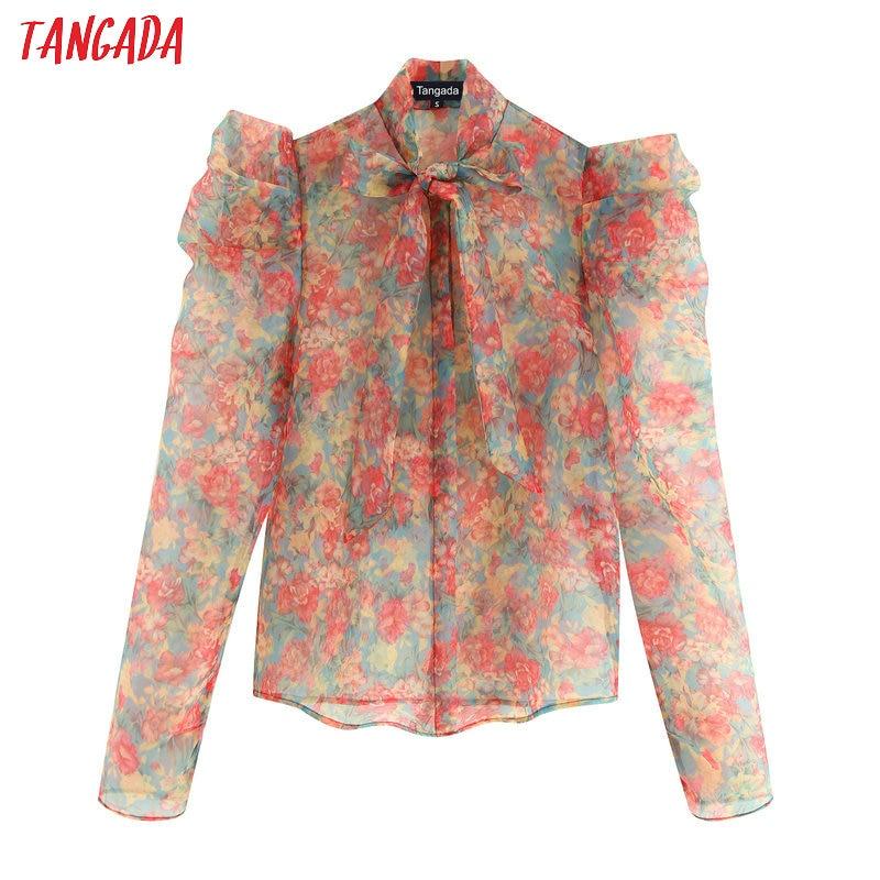 Tangada Women Chic Flower Print Blouse Long Sleeve Turn Down Collar Transparent Shirts Female Beach Wear Tops Blusas BE668