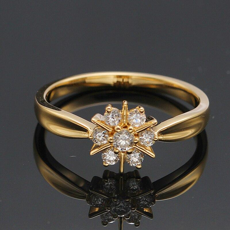 Nouvelle étoile véritable 18K or jaune Charles Colvard Moissanite diamant bague de fiançailles pour les femmes gravure gratuite - 3