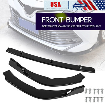 3pcs/Set Car Protector Front Bumper Lip Splitter Fins Body Spoiler Deflector Cover Trim For Toyota Camry SE XSE 2018 2019