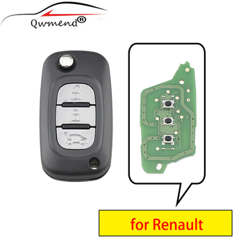 цена на QWMEND 3 Buttons Smart Car Key for Renault Megane III 3 / Scenic III 3 / Fluence 2009-2015 Car Remote Key 433mhz PFC7961 Chip