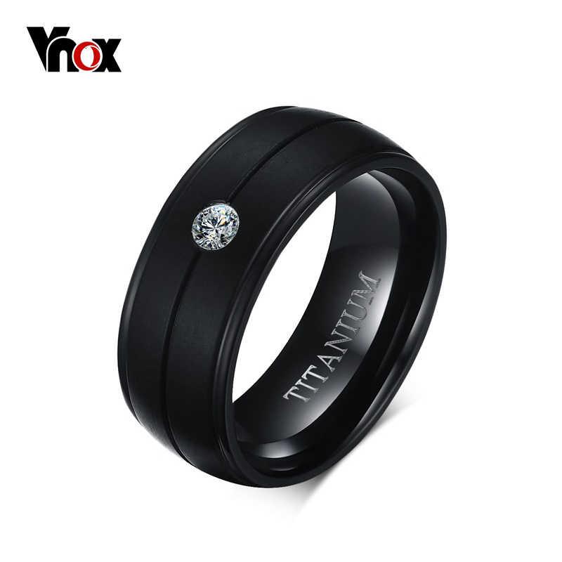 Vnox Men S Punk Pure Titanium Black Ring 8mm Matte Wedding Bands