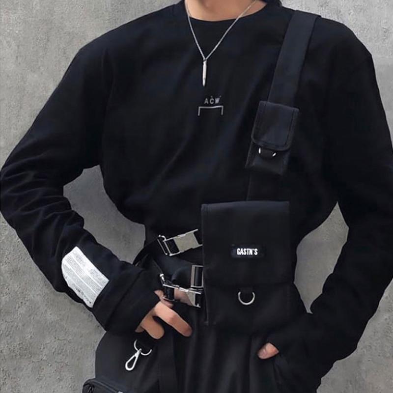 Streetwear Vest Bag For Men Tactical Chest Rig Bags Hip Hop Trend Canvas Waist Bag Adjustable Functional Men's Chest Bags