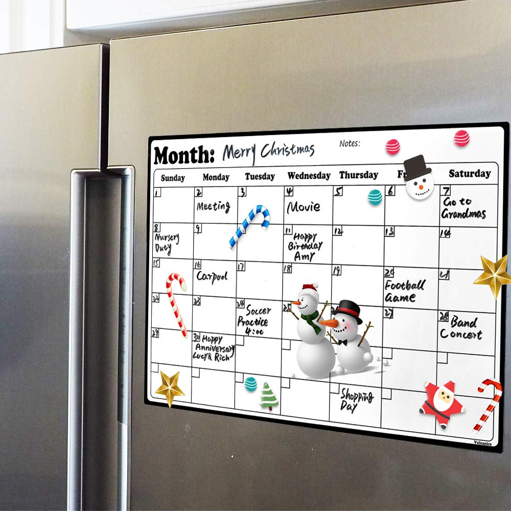 A3 Whiteboard Dry Erase Heavy Duty Magnetic Monthly Refrigerator Calendar Durable Made From Highest Quality Surface Material