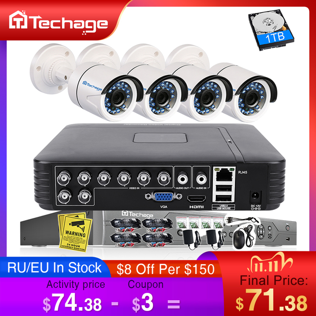 Techage 8CH 1080N AHD DVR Kit 720P CCTV System 1MP IR Night Vision Indoor Outdoor Camera Video Home Security Surveillance Set