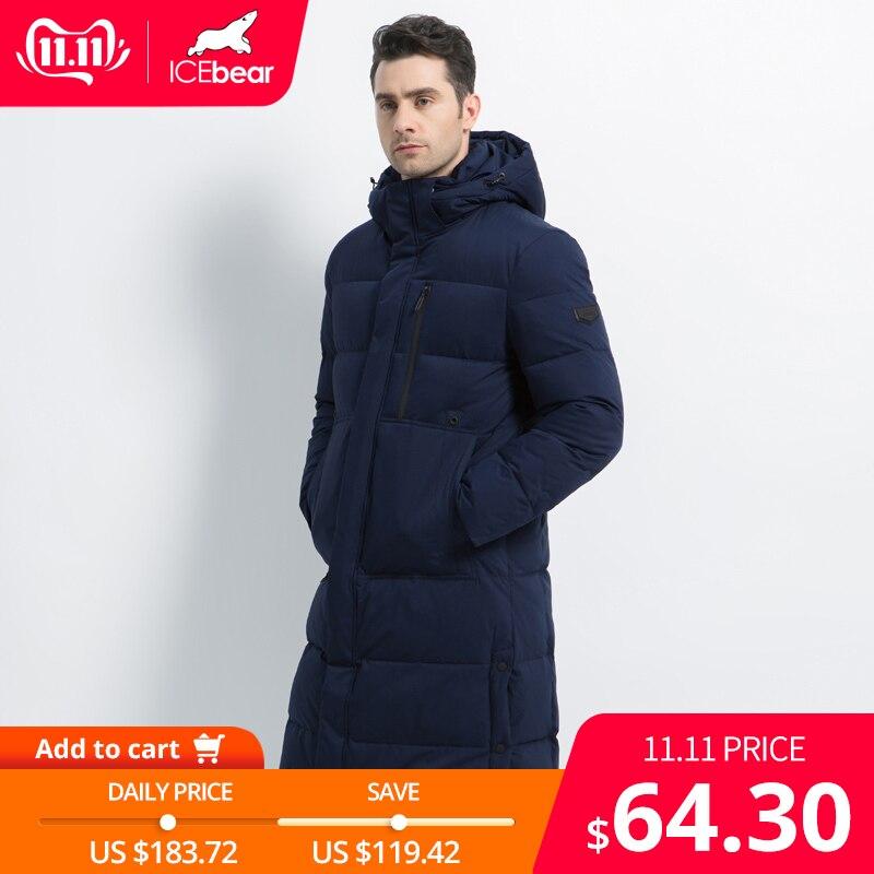 2019 nouveau hommes veste d'hiver Long hommes manteau avec fermeture éclair à capuche mâle manteaux de haute qualité homme hiver marque vêtements MWD19913D