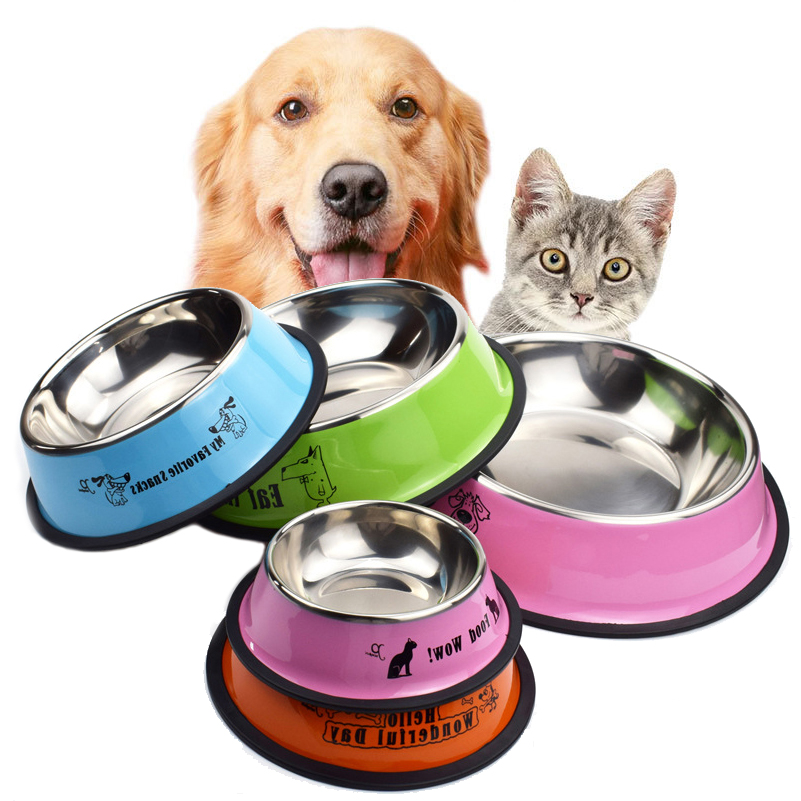 Pet Bowl Cat Cartoon Stainless Steel Dog Pot Bowl Pet Feeder Gamelle Chien Water Bottle Food for dogs cats feeder image