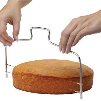 Podwójna linia regulowany drut ciasto krajalnica niwelator ciasto do pizzy Cutter trymer narzędzia metalowe ciasto cięcia narzędzia ze stali nierdzewnej tanie i dobre opinie CN (pochodzenie) Przybory do ciasta Ekologiczne STAINLESS STEEL cake decorating tools moldes de silicona moule silicone cake mold