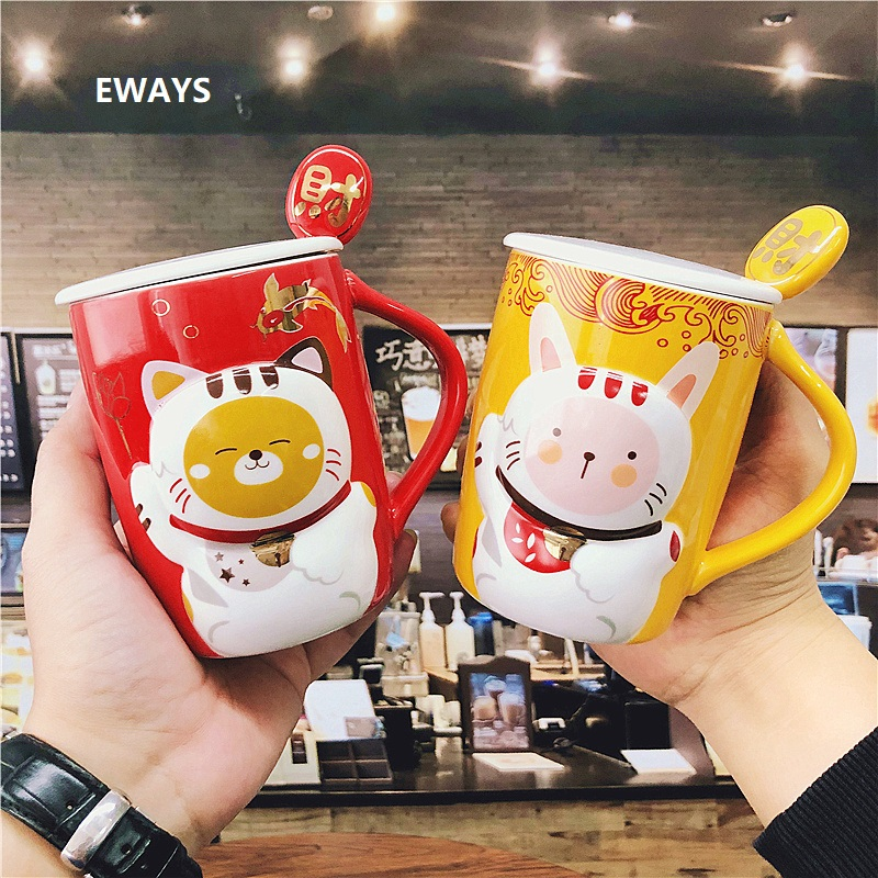 OUSSIRRO Creative Chinese Style <font><b>Lucky</b></font> <font><b>Cat</b></font> milk coffee Tea Mugs With Spoon an Cover suit Children Cute Water <font><b>Cups</b></font> image