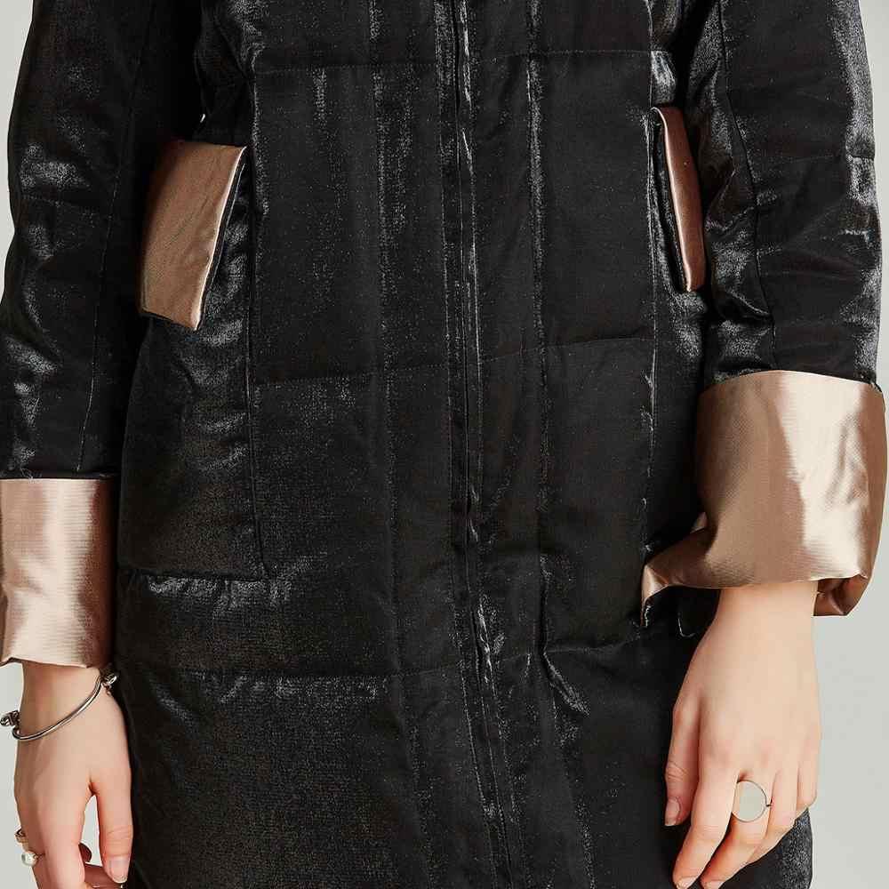 Havva Musim Gugur Musim Dingin Fashion Hitam Mengkilap Jaket Wanita Poliester 100% Midi Bebek Putih Bawah Mantel Y39730