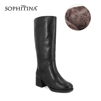 asumer black fashion winter snow boots round toe keep waem knee high boots zip shearling comfortable pu cow leather boots women SOPHITINA New Genuine Leather Women Boots Comfortable Thick Heel Round Toe Keep Warm Wool Fur Fashion Knee-High Winter Boots BA6