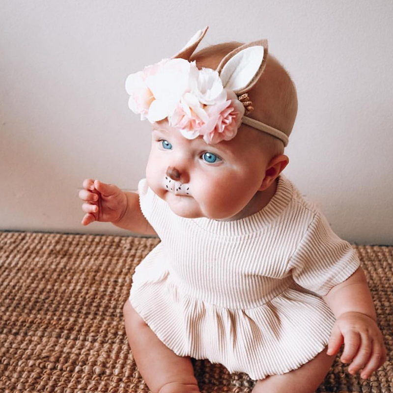 10pcs/lot Lovely Baby Girls Headband Bunny Ear Newborn Photo Props Cute Elastic Flower Crown Headband For Party Hair Accessory