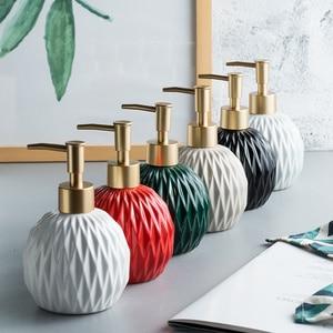 Image 1 - 400ml Round Fold Ceramic Soap Dispenser For Kitchen Bathroom Accessories Lotion Bottle Shower Gel Bottle Hand Sanitizer Bottle