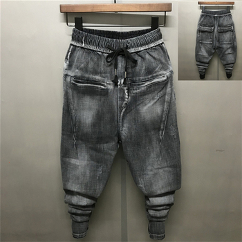 2018 Youth Black Gray Harem Pencil Pants Social Young Boy Spirit Men's Jeans South Korea Slim Drawstring Middle Waist Fashion