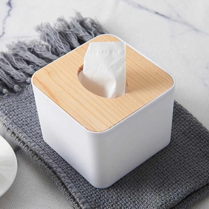 Servilletero de madera maciza forma cuadrada caja de pañuelos de plástico de madera caja de papel de cocina hogar caja de almacenamiento Accesorios