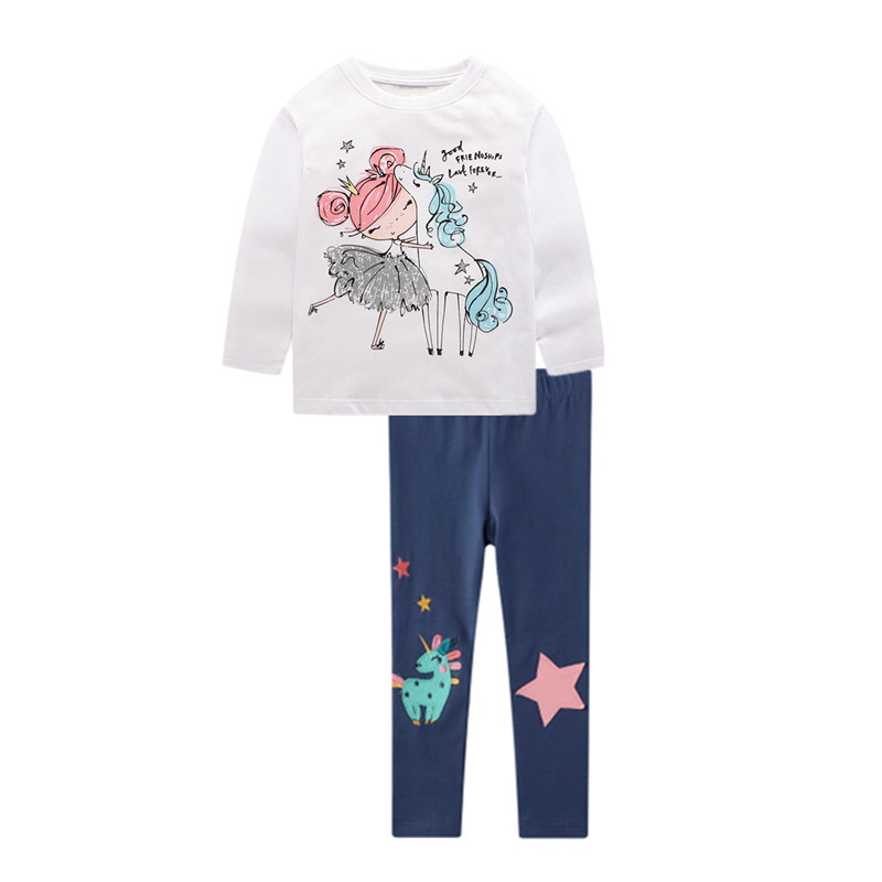 VIDMID girls cotton clothing set kids cartoon t-shirt and pants baby girls long sleeve clothing suits children clothes sets W01 2