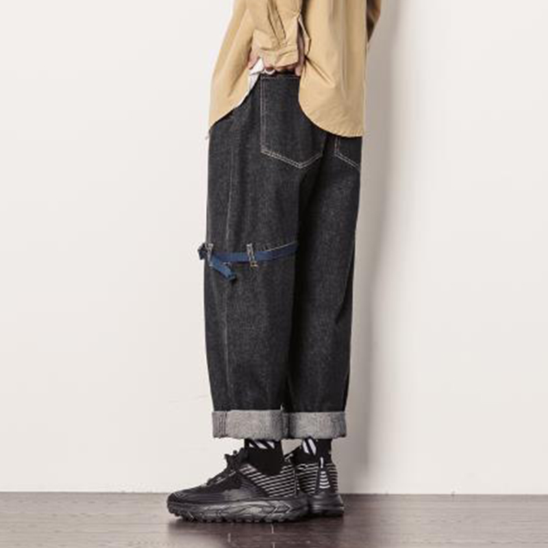 Men Wide Leg Jeans Loose Ribbon Splice Casual Cargo Denim Harem Pants Male Vintage  Hip Hop Straight Trousers