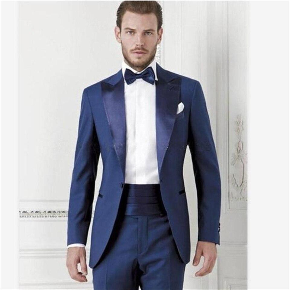 New Men's Suit Smolking Noivo Terno Slim Fit Easculino Evening Suits For Men Dark Blue Groom Tuexdos Groomsmen Prom Formal Occas