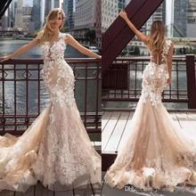 цена на 2020 Champagne Mermaid Wedding Dresses Lace Applique Sheer Neck Bridal Gowns Beach Sweep Train Wedding Dress