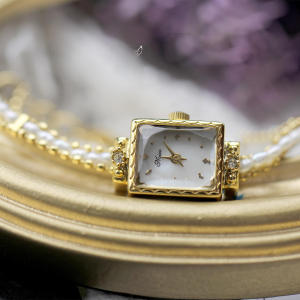 Bracelet Watch Pearl-Chain Square Japanese Small Mini Bass Fritillaria