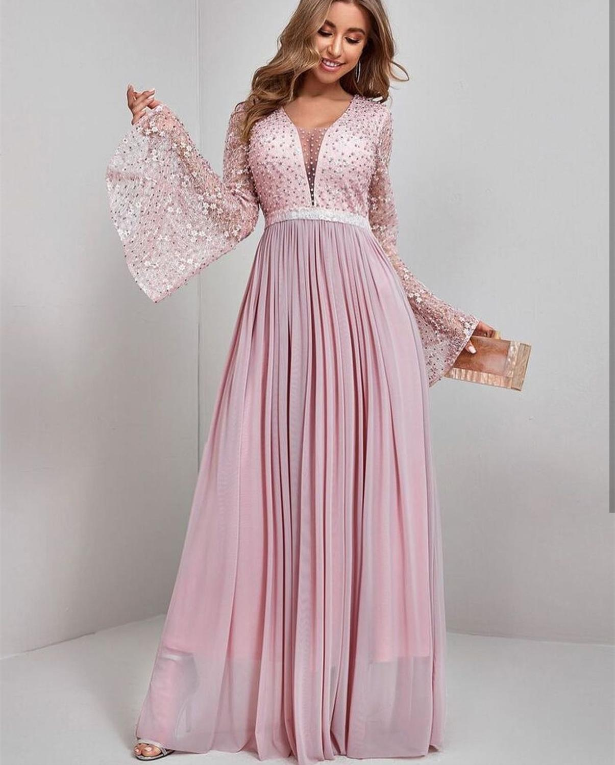 Elegant Prom Dress 2021 Luxury  Pink Shinny Long Sleeve Sexy Deep V-neck  Floor length Pearls Batwing Special Occasion Dresses
