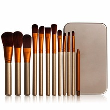 12 makeup brushes eye shadow brush gold portable iron box makeup rinse set beauty tools