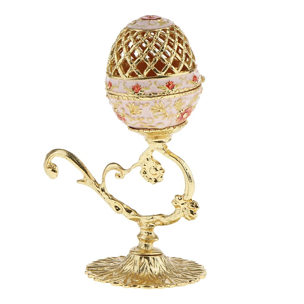 Tiny Egg Box Flower Enamel Trinkets Jewelry Box Ring Holder Egg Magnet Clasp