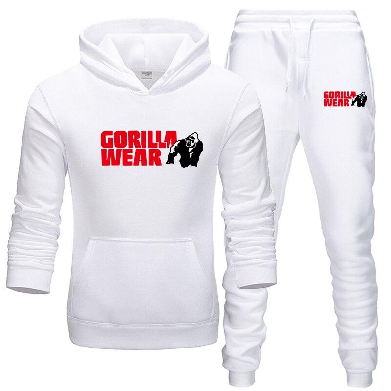2019 GORILLA WEAR Hot Sale Men's Sets Hoodie+pants Two Pieces Sets Casual Tracksuit Male Casual Fitness Tracksuit Men