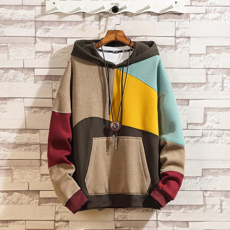 Fashion Pocket Sweatshirt Men's Casual Hooded Patchwork Pullover Hoodies hip hop Sweatshirt Mens Hoodies Y240