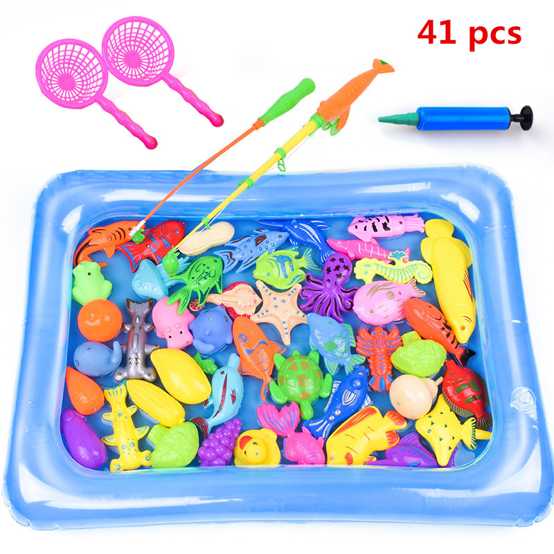 Купить с кэшбэком 41pcs/set Kids Play Fishing Games Model Child Magnetic Fishing Toy Rod Set With Inflatable pool Kids Summer Outdoor Toys